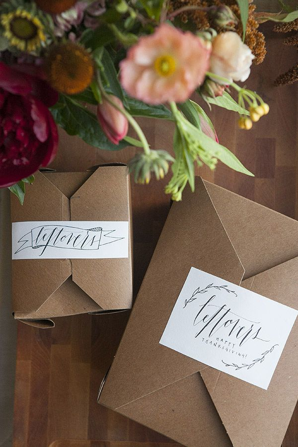leftover boxes for guests to take home w/ cute label