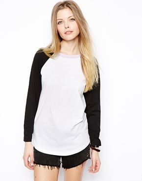 ASOS Baseball Top with Contrast Neck Band