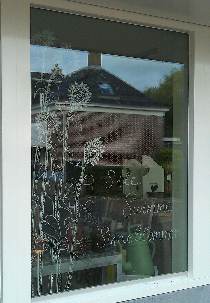 www.drawink.nl #raamtekening Simmerwinkel: Sile, Swimme, Sinneblommen