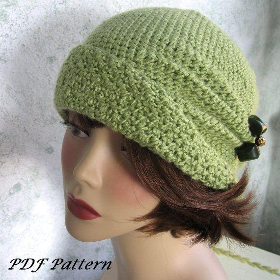 Häkeln Sie Muster Womens FLapper Hut Cloche mit Seite Prise Falten sofort-Download
