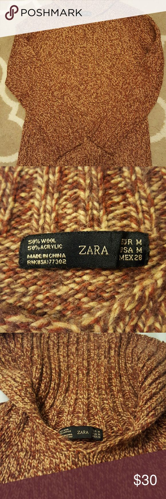 1 DAY SALE!! Zara Wool Sweater This warm and trendy sweater is ready for Fall/Winter!  Material is 50% wool and 50% acrylic. Fold down neck in the back, slight v neck in the front. No flaws! Zara Sweaters