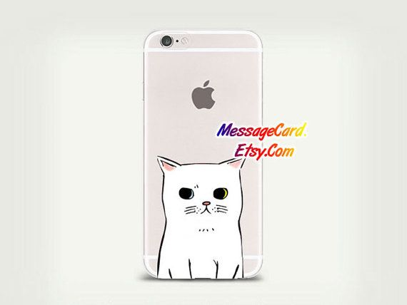 White Cat Clear Phone Case for iPhone 6 6s plus 6 by MessageCard