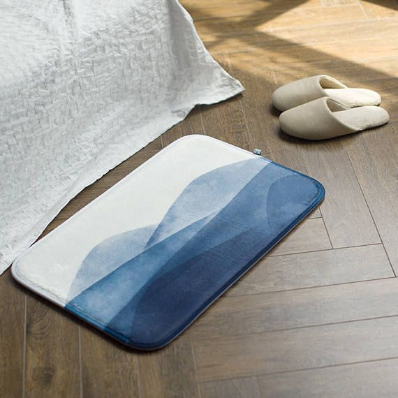 " Size: 16"" x 24"" (40cm x 60cm)  Color: Blue and white  Fabric of bath mat: Ultra-soft blue velvet  Content of bath mat: Memory foam  Machine Wash  Made in China  Use: Bath mat & rug, door front mat, bed front mat  Bottom: Plastic scatter-like anti-skid bottom  Inspired by traditional Chinese ink and wash painting, our bath mat are originally designed combining classic oriental elements and contemporary minimalism. It is perfectly use in bathroom, bedroom, door front. This mat matc..."