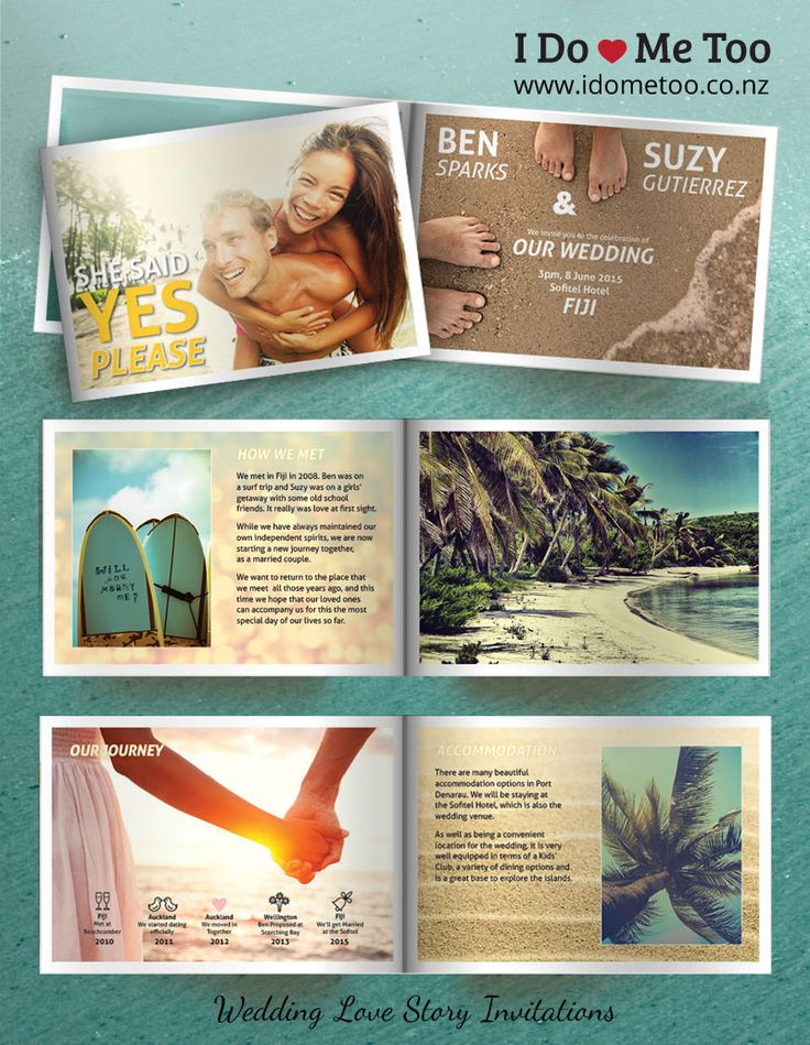 Beach Wedding Invitations - Create your very own Beach Themed Wedding Invitations with I Do - Me Too Wedding Invitations. Each 8-page wedding invitation card is fully customisable to express your individuality as a couple. See inside this wedding invitation now and imagine your own Love Story at http://www.idometoo.co.nz/beach-wedding-invitations.html