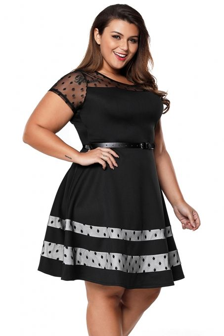 803742c8df8 Black Dotted Mesh Insert Flare Plus Size Dress with Belt
