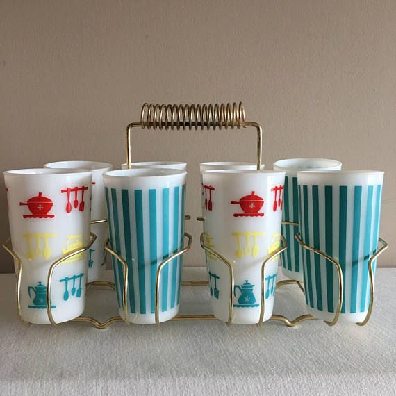 Hazel Atlas turquoise strip and kitchen aids drinking glasses