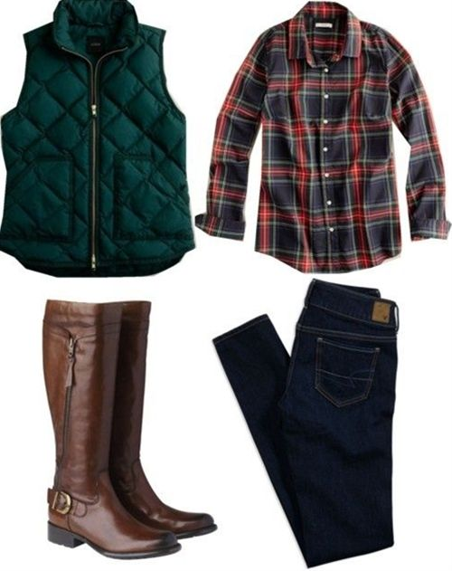 plaid shirt jeans and boots. Love this outfit! - Click image to find more fashion posts