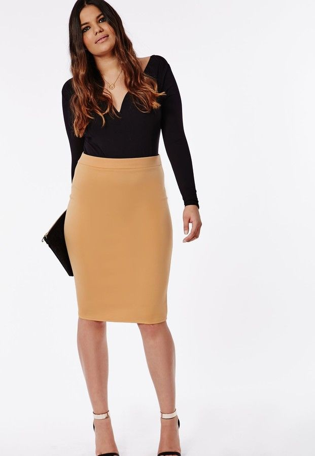 29c3cca4c47 Plus Size Bodycon Midi Skirt Camel
