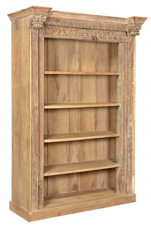 Antique Style Mango Wood Teak Carved Bookcase 57 L X 84 H Dv Antiquestyle Elegant Furniture Mango Wood Teak