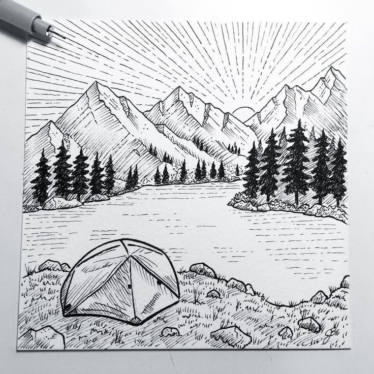 Camping Drawing, Landscape Drawings