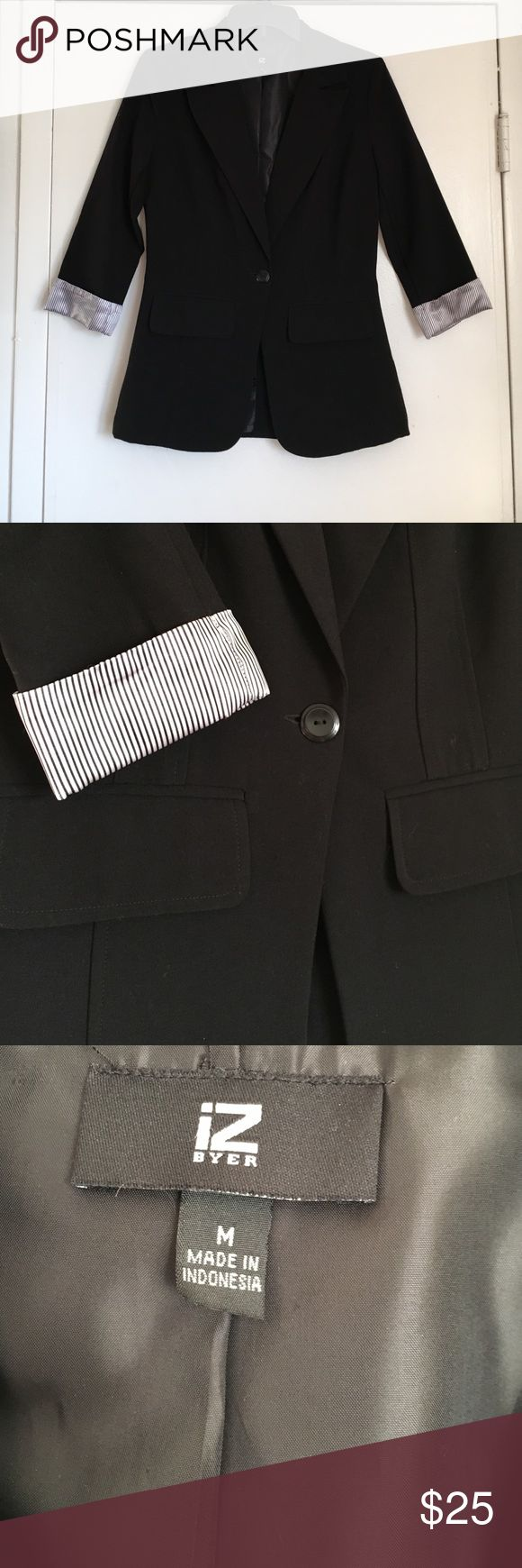Professional Suit Jacket Women's black suit jacket with striped cuffs. In great condition. Iz Byer Jackets & Coats Blazers