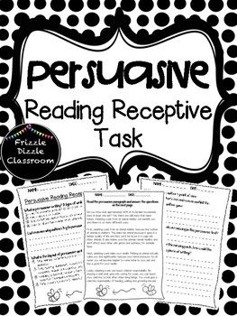 This is is a 3-page Persuasive Reading Receptive test that students can take to understand their knowledge of the elements of a persuasive text. Test includes questions such as: - Define persuasive writing- Why do authors persuade their readersStudents will also have an example of a persuasive text and will be asked to:- Find the author's point of view- Find the reasons and examples the author gave- Find elements missing from the text and- Explain how elements can be improvedThis test is…