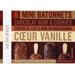 Mini batonnets chocolat noir et cookies, chocolat lait et noix de macadamia et coeur vanille
