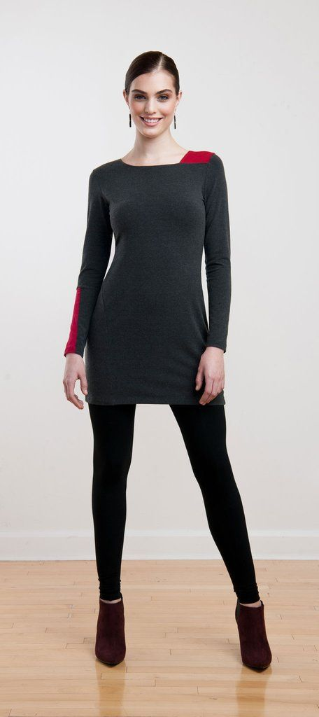 Charcoal tunic with a pop of colour in the geometric detailing for a unique modern look