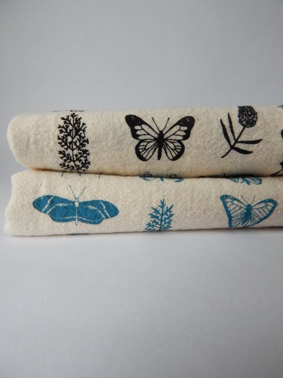 Superb Kitchen Towel, Hand Printed, Butterfly Floral, Natural Cotton