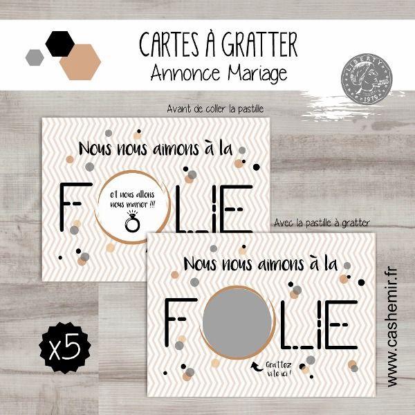 Cartes à gratter annonce mariage fiançailles originale, lot de 5 cartes - réf.204 : Faire-part par cashemir