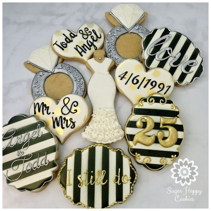 wedding sugar cookies, black and white, silver and gold, wedding gown, anniversary sugar cookies, wedding ring, Mr. & Mrs.