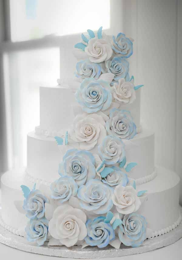 wedding cakes northern new jersey%0A C   b buttercream wedding cake with sugar flowers and butterflies frosted  in blue
