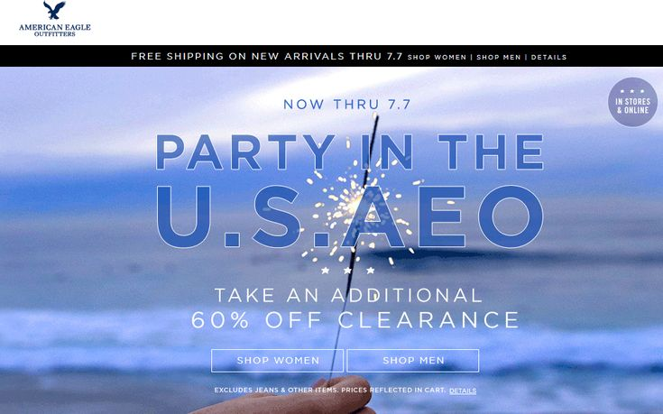 Pinned July 3rd: Extra 60% off clearance at #American Eagle Outfitters ditto online #coupon via The #Coupons App