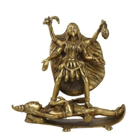 Amazon.com: Statue Of Goddess Kali Hindu Art Religious Décor; Brass; 9 x 4.75 x 8 Inches: Home & Kitchen