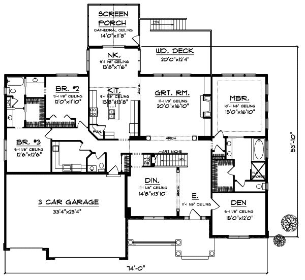 Best Home Plans Images On Pinterest Architecture Country - 1 story bungalow house plans 3 car garage