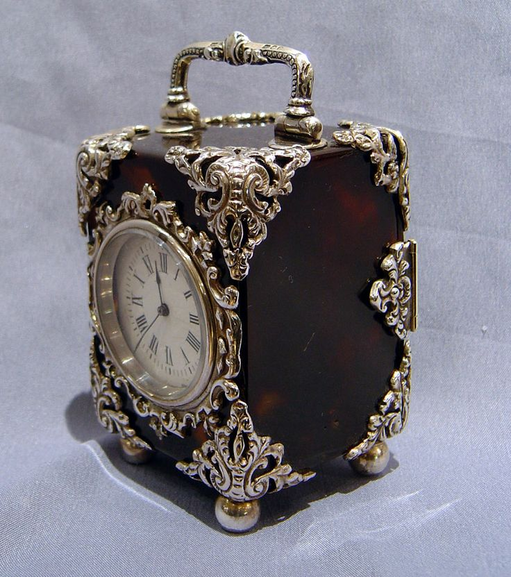 antique silver clock pictures  | Antique English silver mounted tortoiseshell carriage clock. - Gavin ...