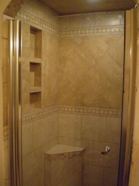 Tiled shower stalls master bath shower stall master for Finished bathroom ideas