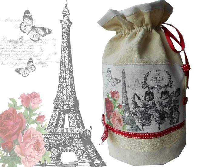 "Pochon rond shabby ""Paris french cancan"" création miss coopecoll : Autres sacs par miss-coopecoll"