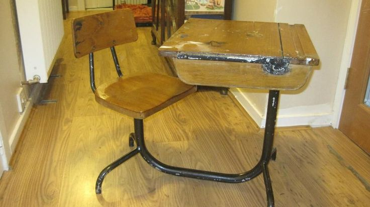 Vintage wooden child's school desk and chair on Gumtree. Vintage wood and metal school desk with chair attached. Chair swivels and desk has lid which lifts t