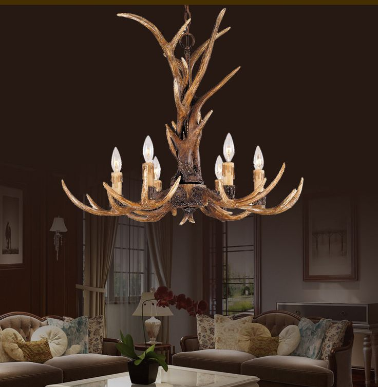Europe Country 6 Head Candle Antler Chandelier American Retro Resin Deer Horn Lamps Home Decoration -  Item Type: Pendant Lights  Brand Name: full matcher  Number of light sources: 6  Voltage: 90-260V  Place: Hotel Hall,Study,Hotel Room,Parlor,Master Bedroom,other bedrooms  Application: Foyer  Material: Resin  Power Source: AC  Body Material: Iron,resin  Lighting Area: 15-30square meters  Model Number: 3  Installation Type: Chain Pendant  Base Type: E14  Is Dimmable: No  Technics: Engraved…