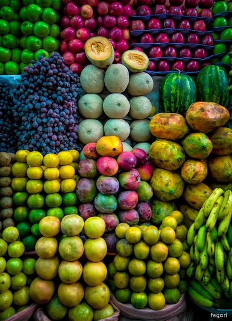 Colorful fruits and veggies