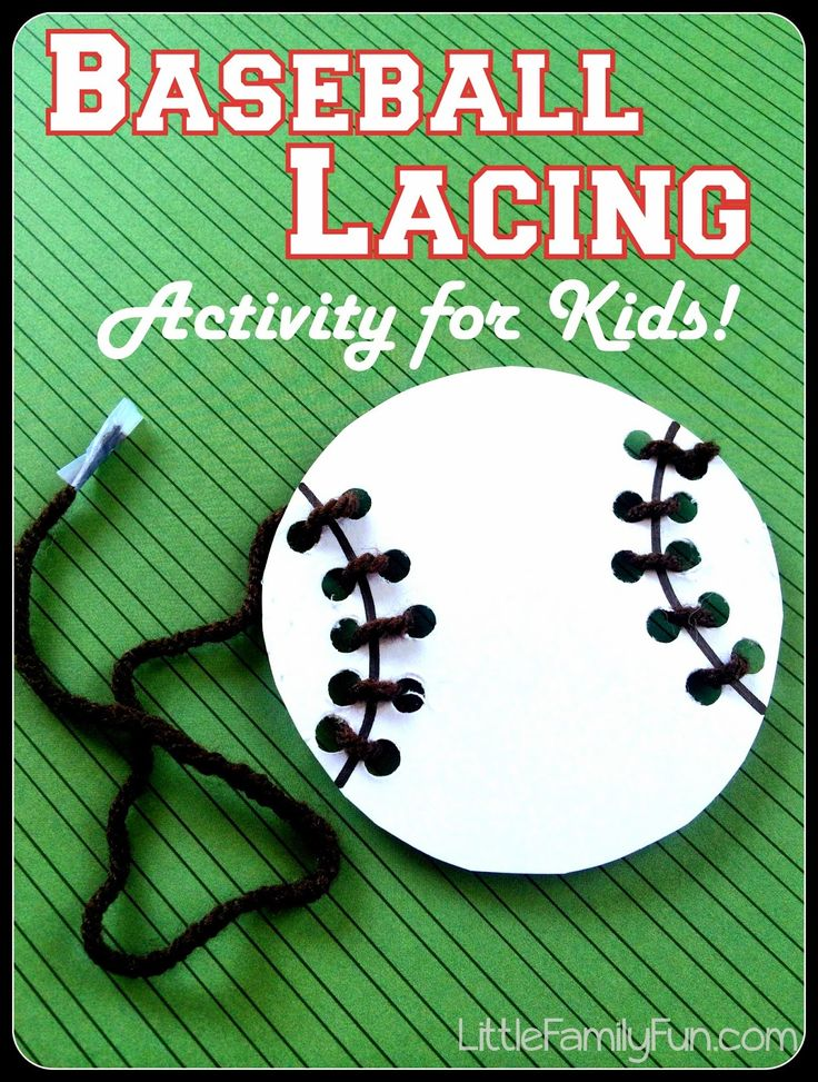 Baseball Lacing Activity for kids. Great fine-motor skills practice! Baseball preschool activity.