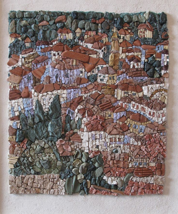 A mosaic i did in 2013 based on a painting from a Greek Painter (Mr. Papaloukas). In this work i used green marble from Tinos Island to represent the trees and tiles of brick for the roofs.