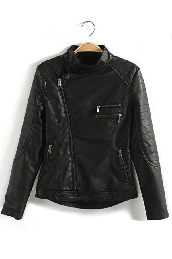 Stitched PU Moto Jacket - OASAP.com