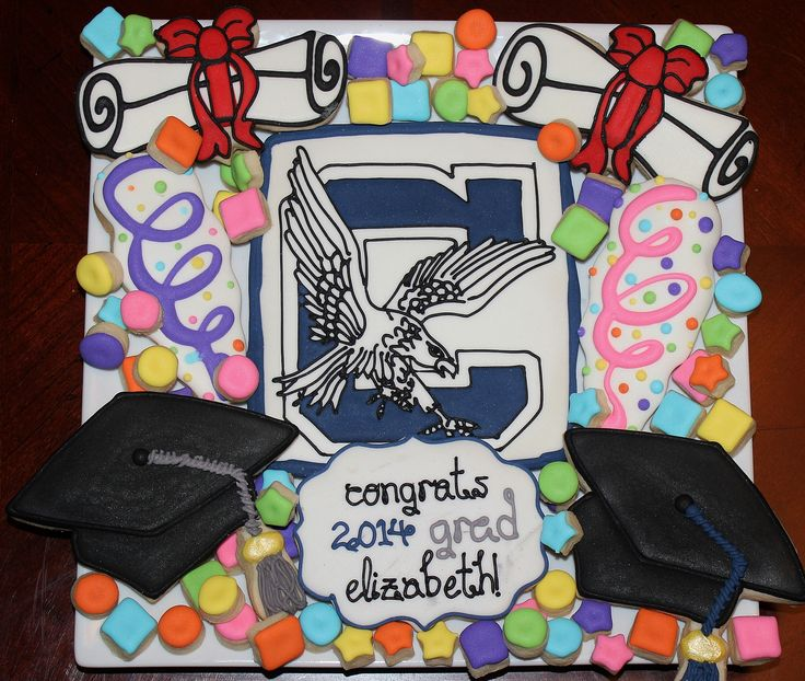 https://flic.kr/p/nWWwAw | Clover High Graduation Platter | A platter done for our niece who just graduated high school... congratulations!!  - Streamer cookies inspired by Sweet Adventures of Sugar Belle.