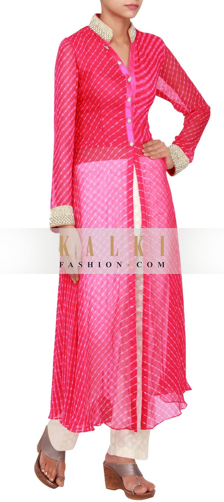 Get this beautiful Salwar-Kameez http://www.kalkifashion.com/fushia-georgette-printed-straight-cut-suit-embellished-in-pearl-and-stone-only-on-kalki.html