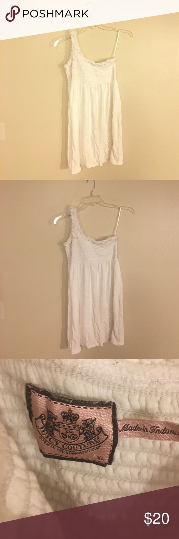 🌞Sale🌞Juicy Couture White Terry Cloth Dress XL Juicy Couture - White - Terry Cloth- One shoulder Swim Cover up or summer dress. XL. Great condition. Juicy Couture Dresses One Shoulder