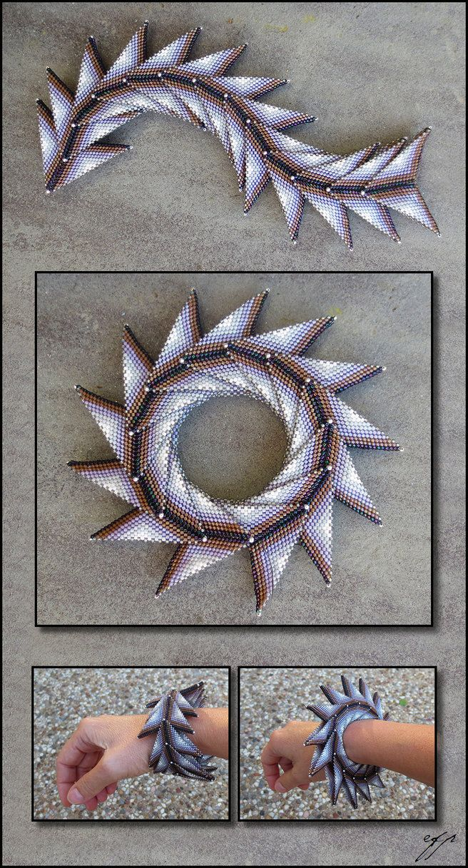 "(2016), 9""x1.5"", Size 11 Delica beads (dark raspberry metallic DB0004, white-lined dark mauve DB1790, white-lined amethyst DB1789, light grey ab DB1508, white ab DB1500) worked in a combination of ..."