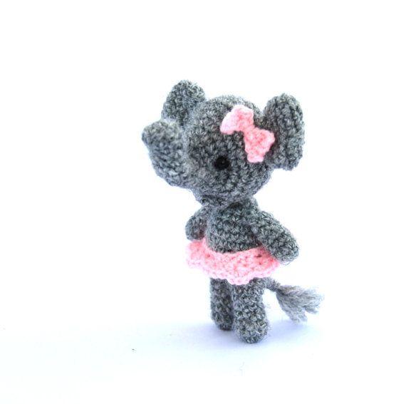 $32.72 mini elephant, crochet ballerina #elephant, #miniature elephant, little elephant, amigurumi tiny elephant, circus, small elephant grey pink, #Valentine's day gift by croch Andi