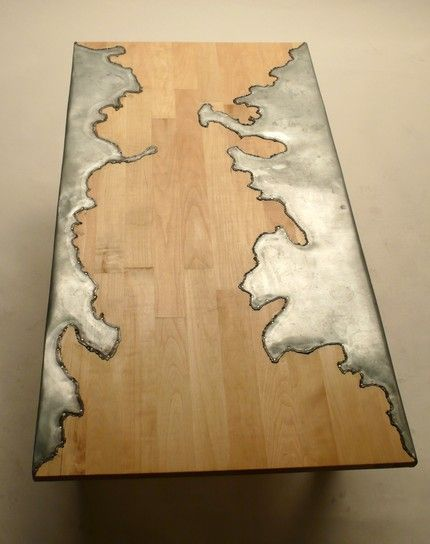 Wood and Steel Table---!!!