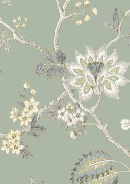 Lewis & Wood Indienne Tint Green Glaze wide width wallpaper