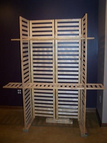 Professional Wood Slat 4 Panel 2 Way Hinge Display Unit