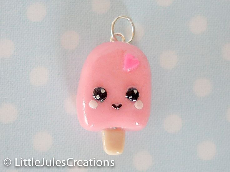 Kawaii pink ice cream pop polymer clay charm.