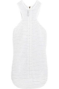 Balmain Cotton-blend terry and metallic mesh top | NET-A-PORTER
