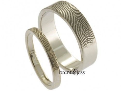 Fingerprint Wedding Ring Set with fingertip prints on the exterior  - by Brent & Jess Custom Handmade Fingerprint Wedding Rings and Jewelry