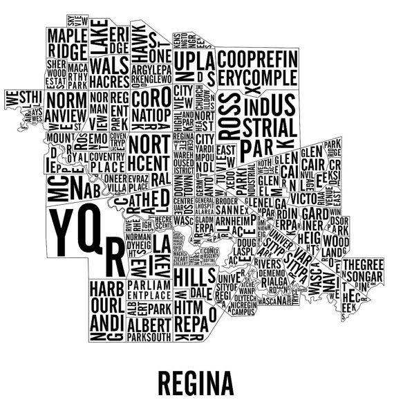 Regina Saskatchewan Neighbourhoods City Map Poster by CNDPrints