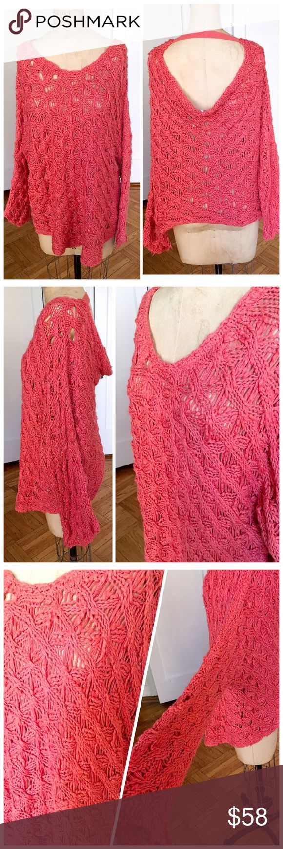 NWOT Free People coral over size crochet top NWOT Free People coral over sized slouchy crochet top with low back. Size small. Any imperfections are true to the tops design and meant for its specific style- worn in boho chic! Cotton and acrylic. Free People Tops Tunics