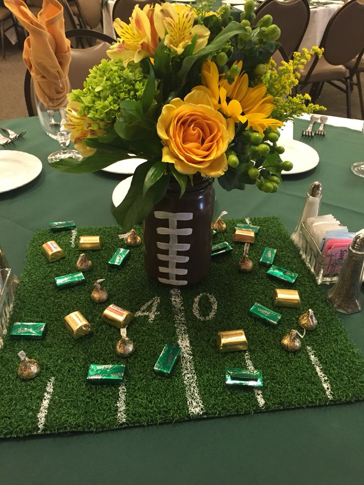 Edison football banquet, mason jar football with turf centerpieces