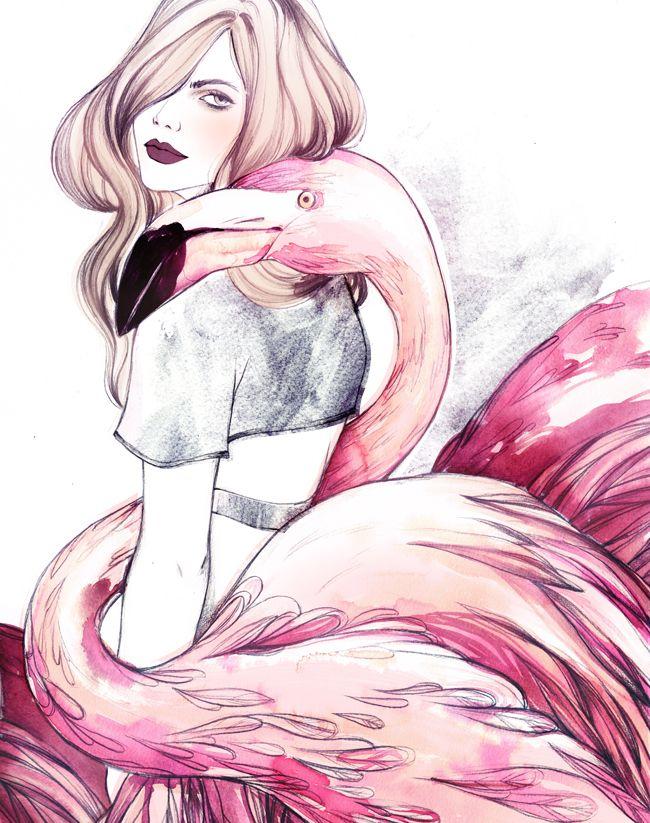 Birds of Peculiar - Soleil Ignacio Illustrations  #fashion #illustration #fashionillustration #flamingo