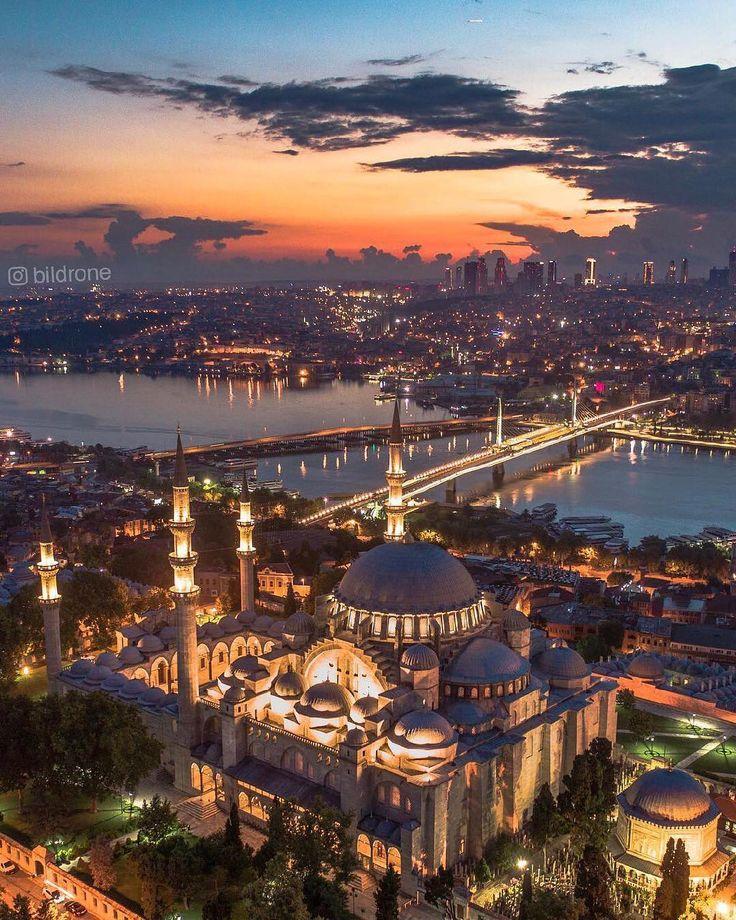 Suleymaniye Mosque aerial view Istanbul Turkey. Ph…
